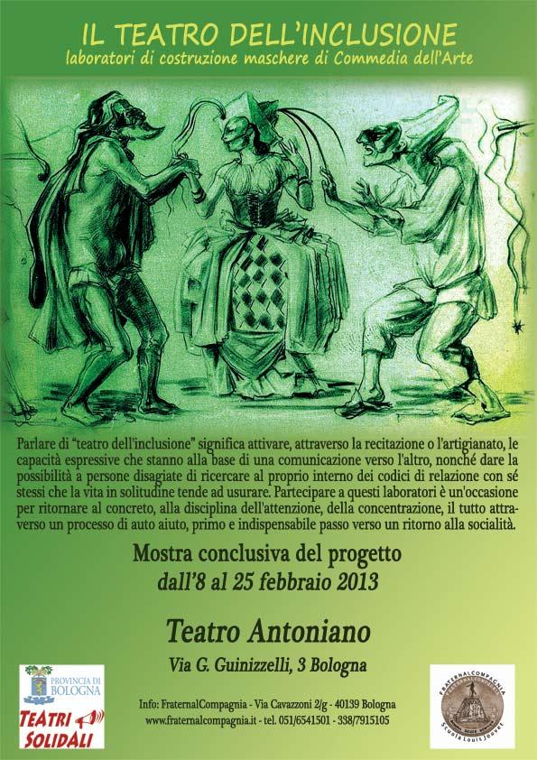 8-25 febbraio MOSTRA DI MASCHERE al Teatro Antoniano –  promossa da Teatri Solidali della Provincia di Bologna